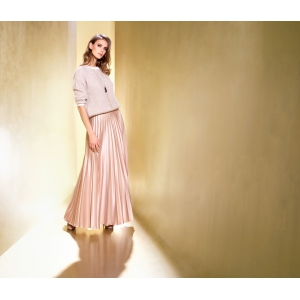 LONG PLISSE SKIRT BEIGE