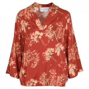 FLOWER SILK PRINT 134 BRICK RED